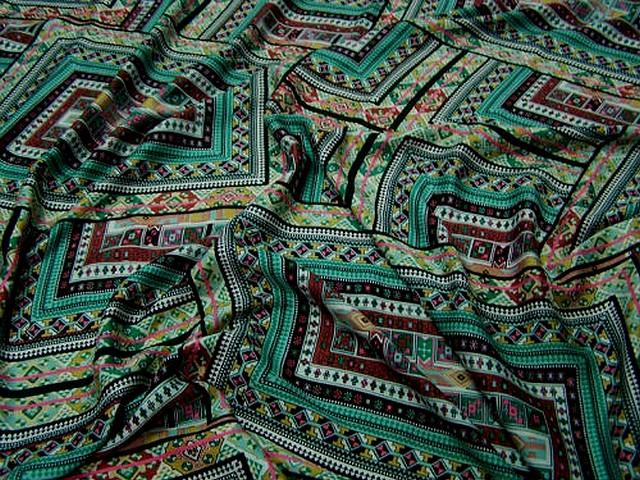 Coton tons verts motif tapis superposes 1