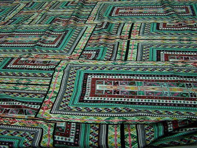 Coton tons verts motif tapis superposes 3