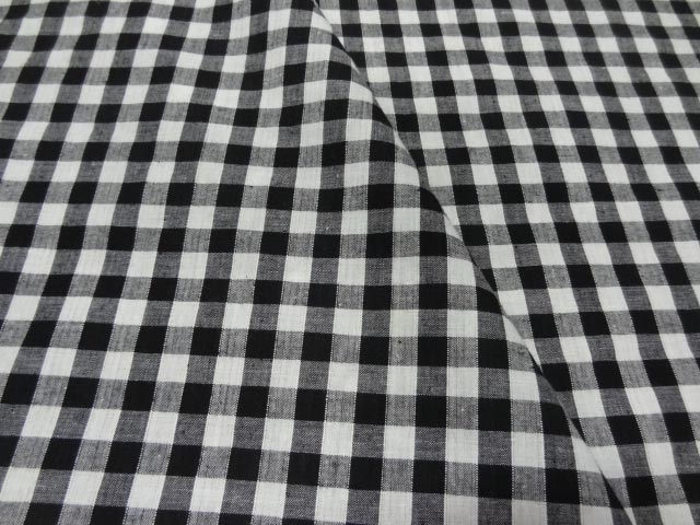 Coton vichy noir blanc en coton 1