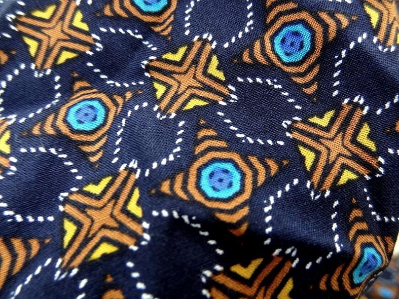 Coton viscose bleu nuit motif lumineux 2