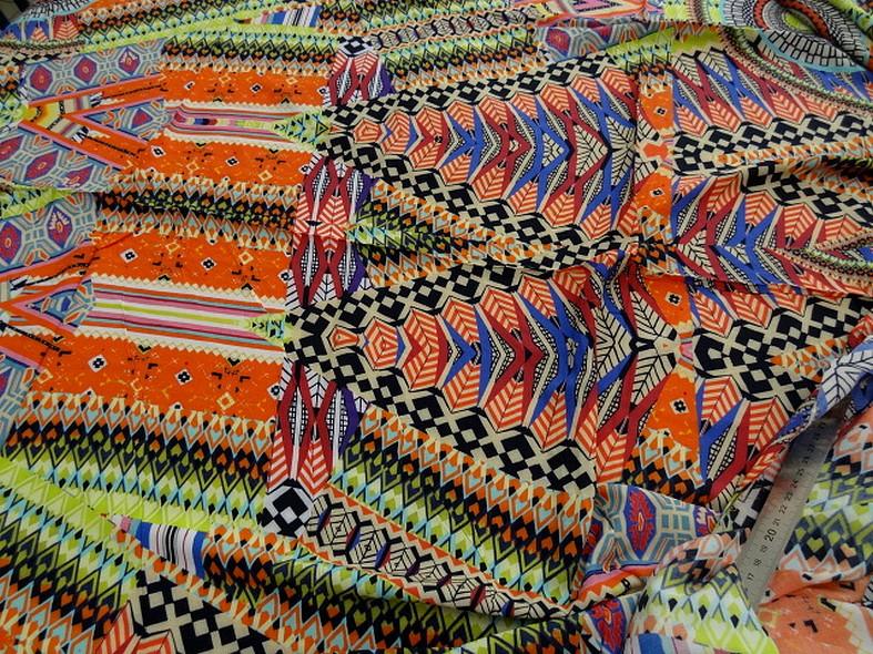Coton viscose couleurs vives ethnique