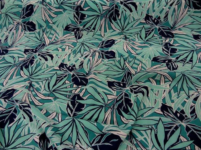 Coton viscose feuillage bleu vert clair bleu paon noir 1