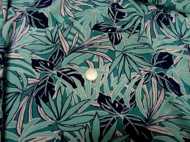 Coton viscose feuillage bleu vert clair bleu paon noir 3