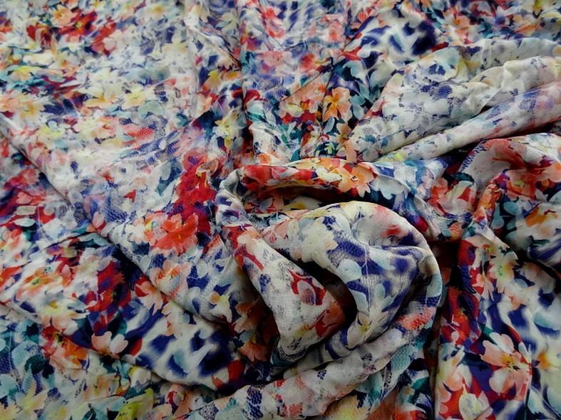 Coton viscose fleuri bleute 1