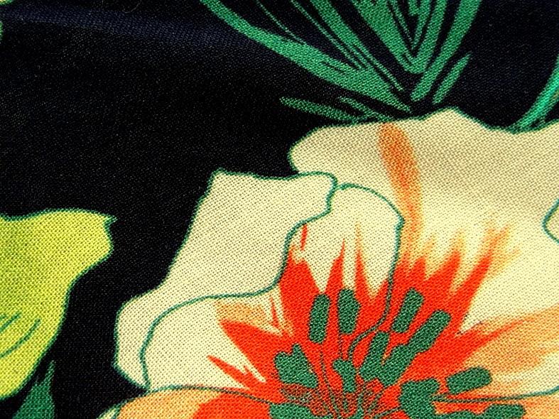 Coton viscose fond marine fleurs et fougeres corail et turquoise 2