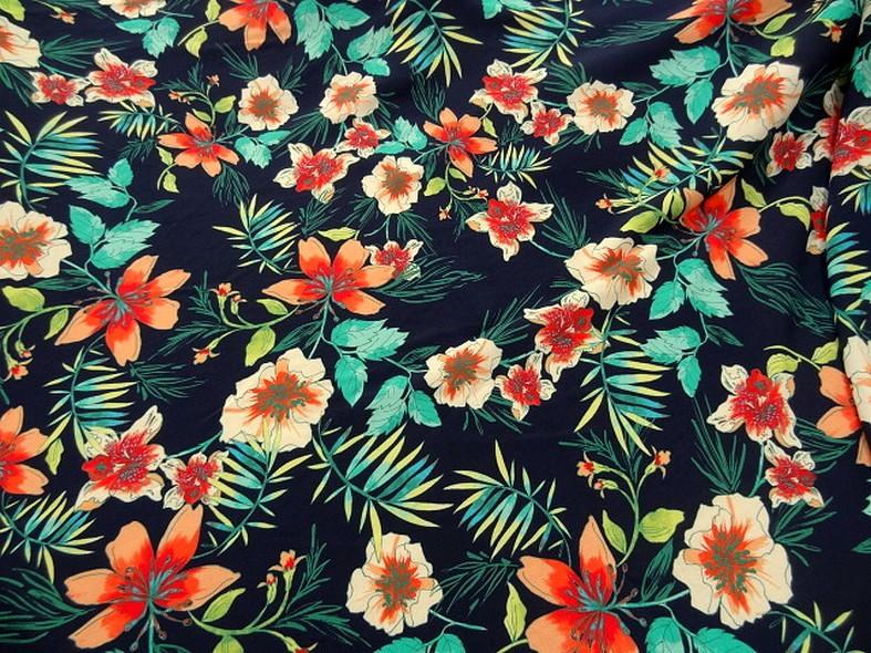 Coton viscose fond marine fleurs et fougeres corail et turquoise 3