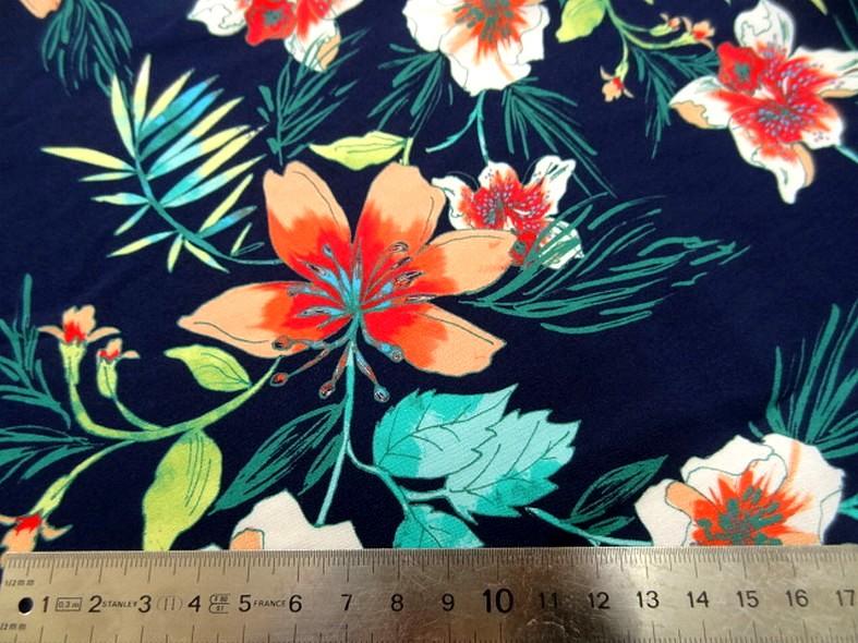 Coton viscose fond marine fleurs et fougeres corail et turquoise 4