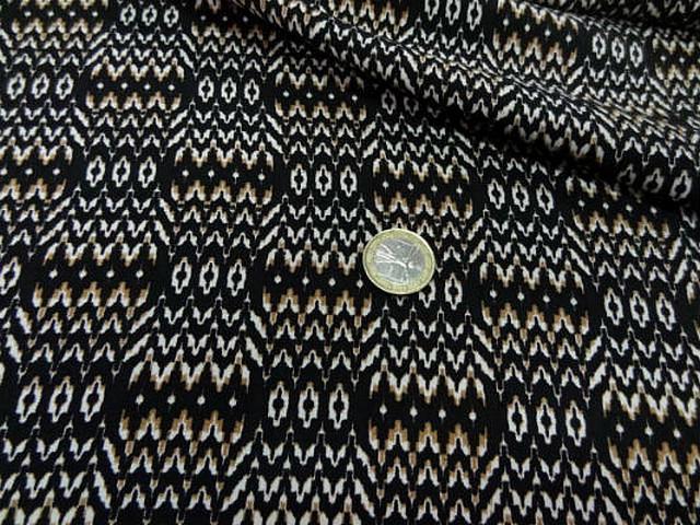Coton viscose fond noir zigzag ethnique 2