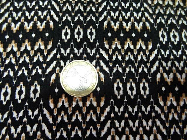 Coton viscose fond noir zigzag ethnique 3