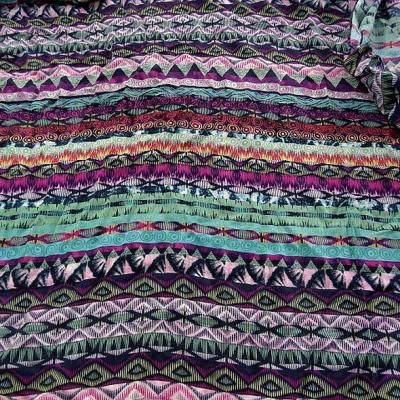 Coton viscose frises ethniques coloris turquoise et fuchsia 1