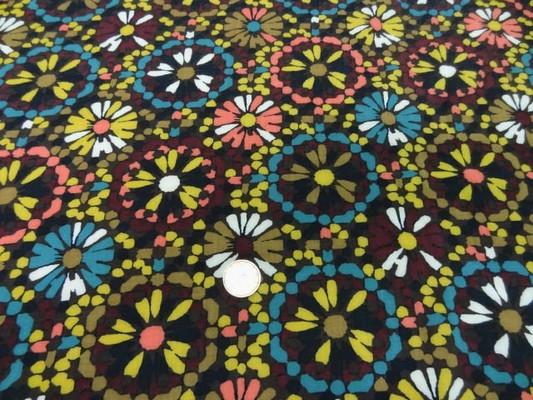 Coton viscose imprimé fleurs ton marron-jaune-bleu