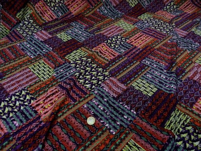 Coton viscose imprime patchwork ton de rose