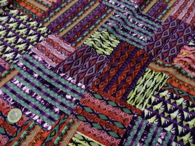 Coton viscose imprime patchwork ton de rose4