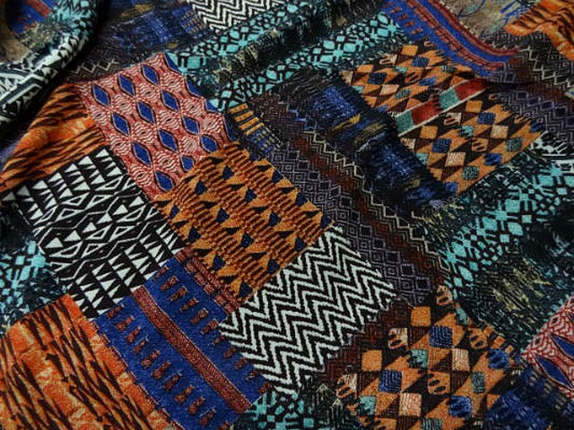 Coton viscose imprime patchwork
