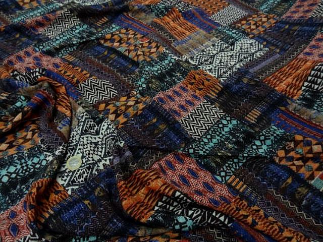 Coton viscose imprime patchwork0