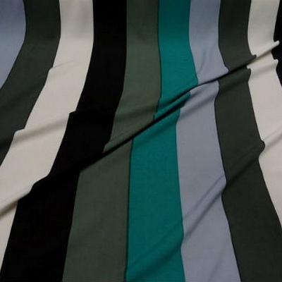 Coton viscose larges rayures kaki turquoise