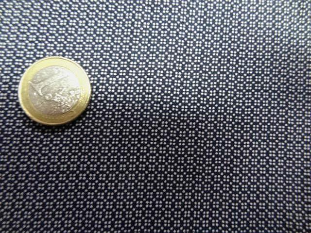 Coton viscose marine carreaux tetris blanc 3