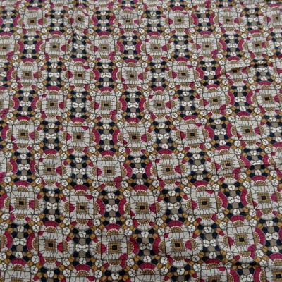Coton viscose motif art déco ethnique noir moutarde framboise