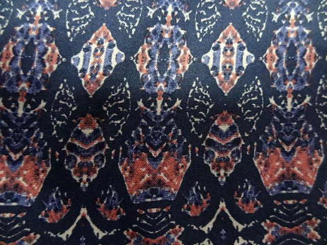 Coton viscose motif ethnique corail marine bleuet 1
