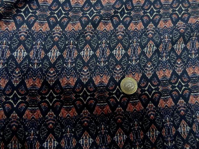 Coton viscose motif ethnique corail marine bleuet 2