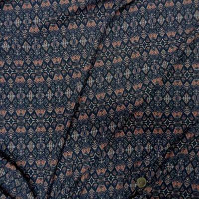 Coton viscose motif ethnique corail marine bleuet 3