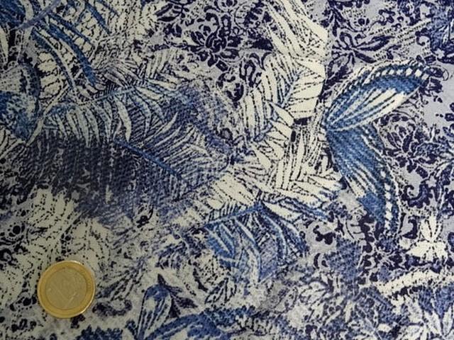 Coton viscose motif papillon bleu blanc 2