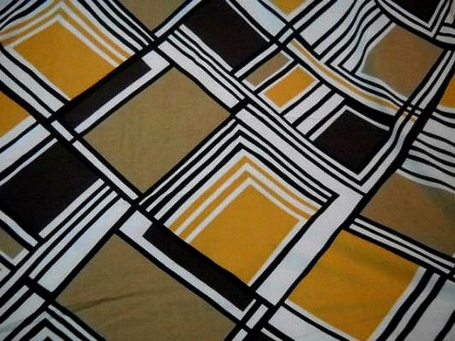Coton viscose motifs carreaux vintage blanc noir ocre 3