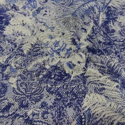 Coton viscose papillons feuillage bleu blanc 1