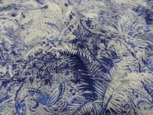Coton viscose papillons feuillage bleu blanc 4