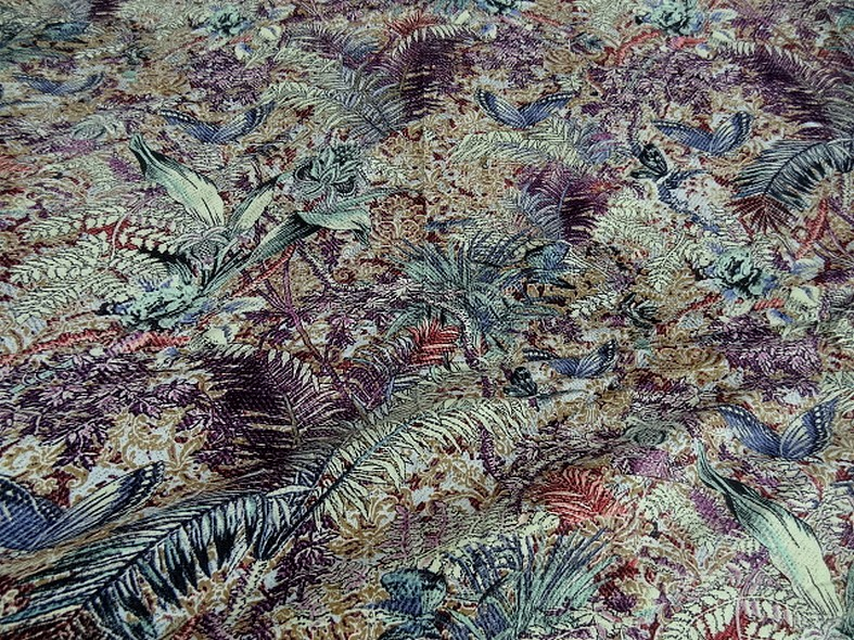 Coton viscose prune et bleu givre plantes et papillons 6