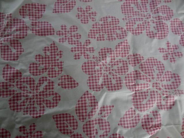 Cotonnade a fleurs vichy rose blanc 01