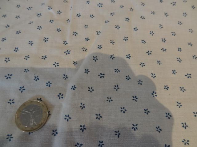 Cotonnade crème petites fleurs bleues 02