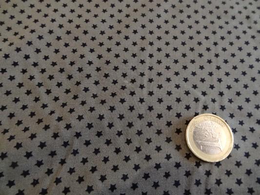 Coton viscose marron petites étoiles noires 02