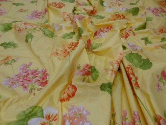 Coupon coton jaune fleuri 2m sur 2 2m 2