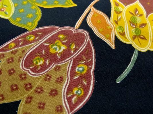 gabardine coton lycra noir imprimé tulipes 7
