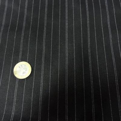 Coupon gabardine coton noir rayé