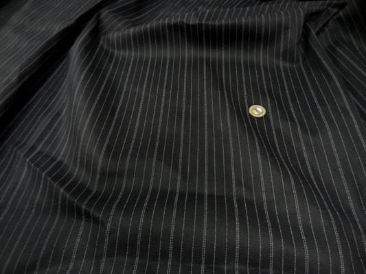 Coupon gabardine coton noir rayé 6