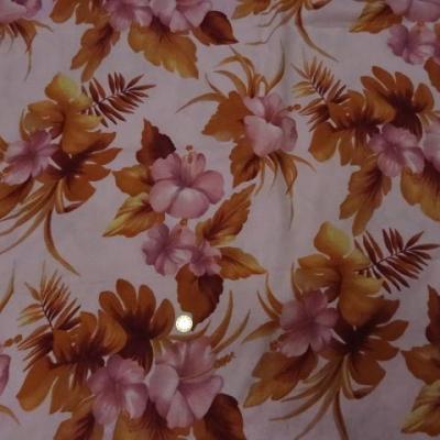 Coupon lin rose clair fleurs caramel 3m 1