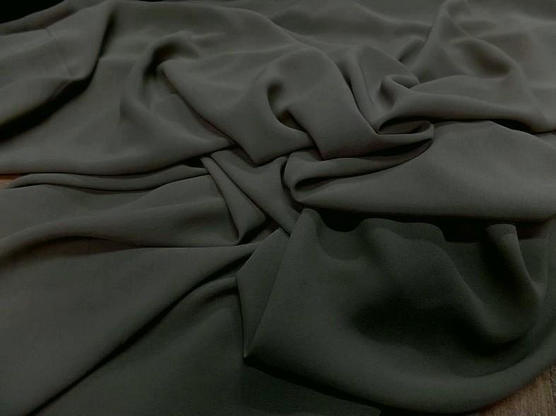 Crepe de soie tres fin kaki gris 2