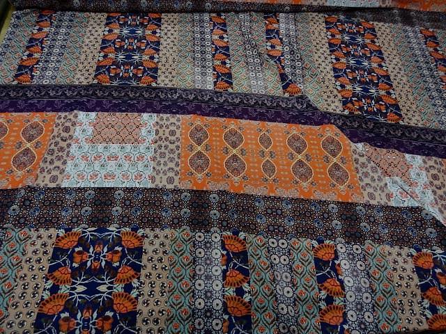 Crepe lycra patchwork liberty indigo et orange 1
