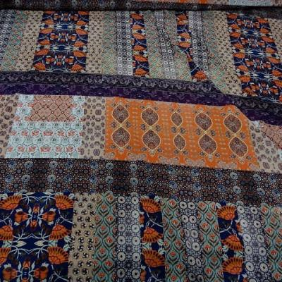 Crepe lycra patchwork liberty indigo et orange 1