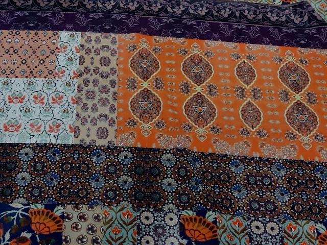 Crepe lycra patchwork liberty indigo et orange 2