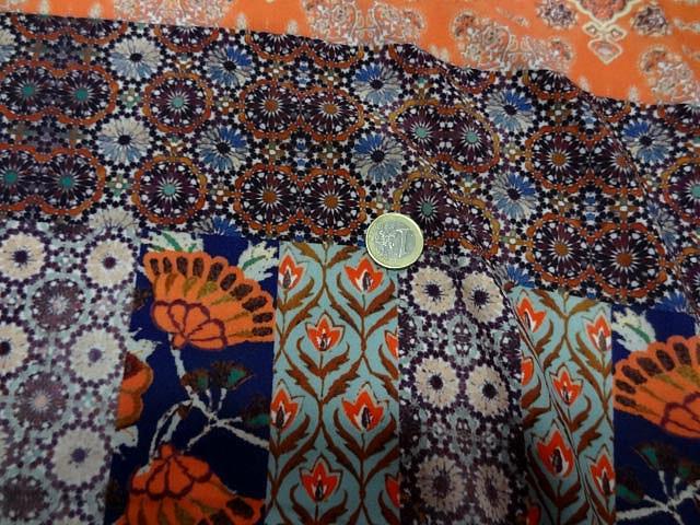 Crepe lycra patchwork liberty indigo et orange 3