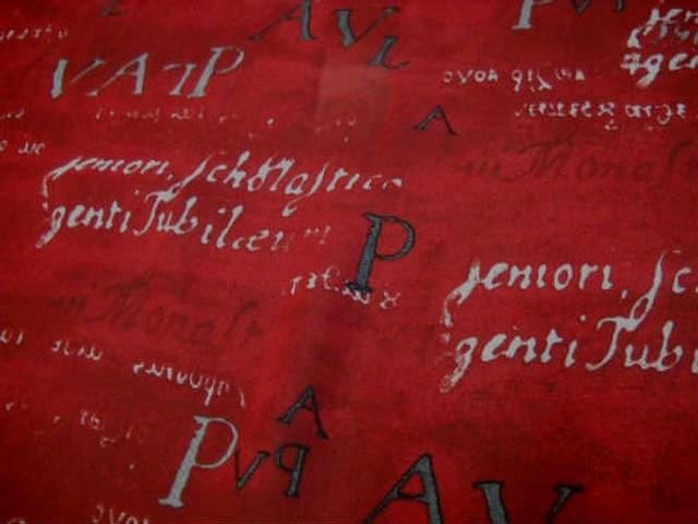 Crepe viscose ecritures fond rouge 1