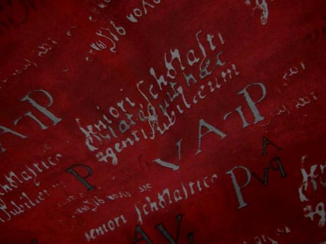 Crepe viscose ecritures fond rouge 3
