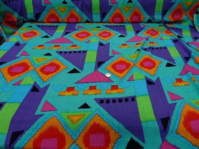 Crepon turquoise imprime
