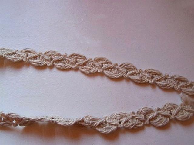 Croquet calisson en coton teinte ficelle