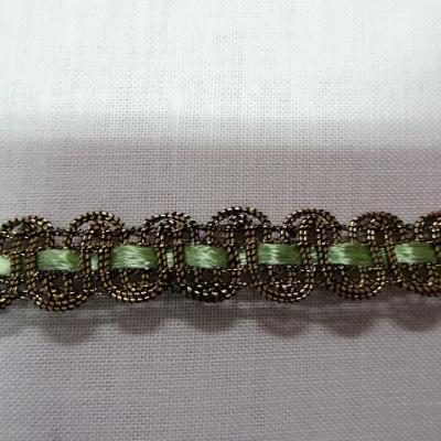 Croquet metal or cuivre et ruban vert clair 1