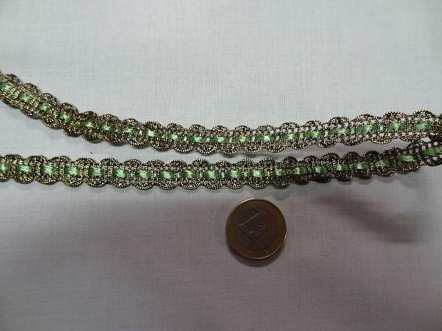 Croquet metal or cuivre et ruban vert clair 2
