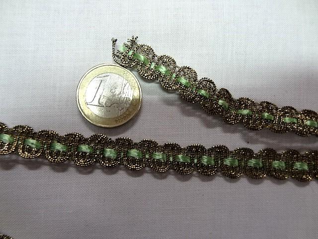Croquet metal or cuivre et ruban vert clair 3